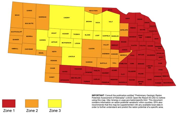 Nebraska counties radon map